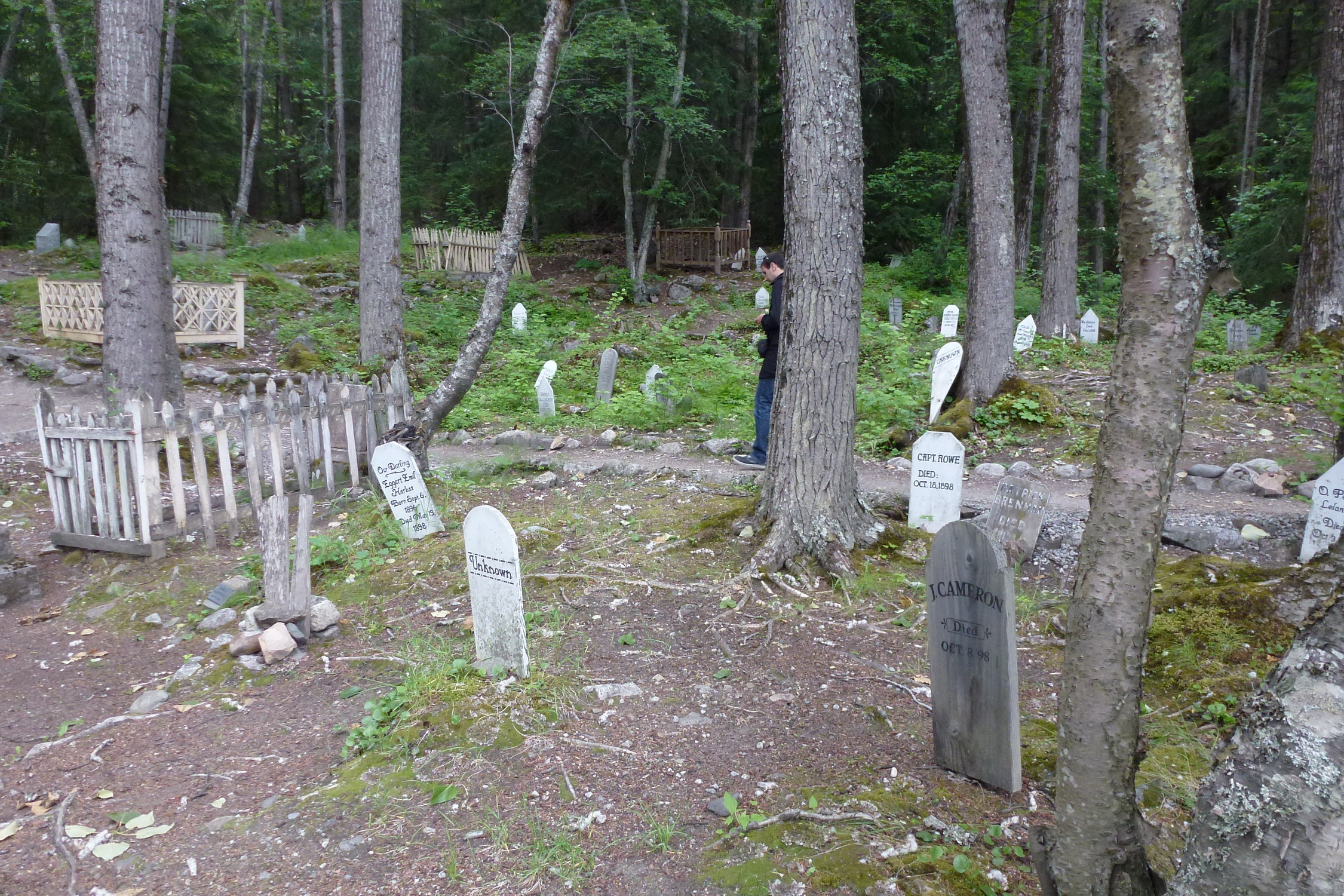 Unknown graves in Skagway's Gold Rush Cemetery, Alaska
