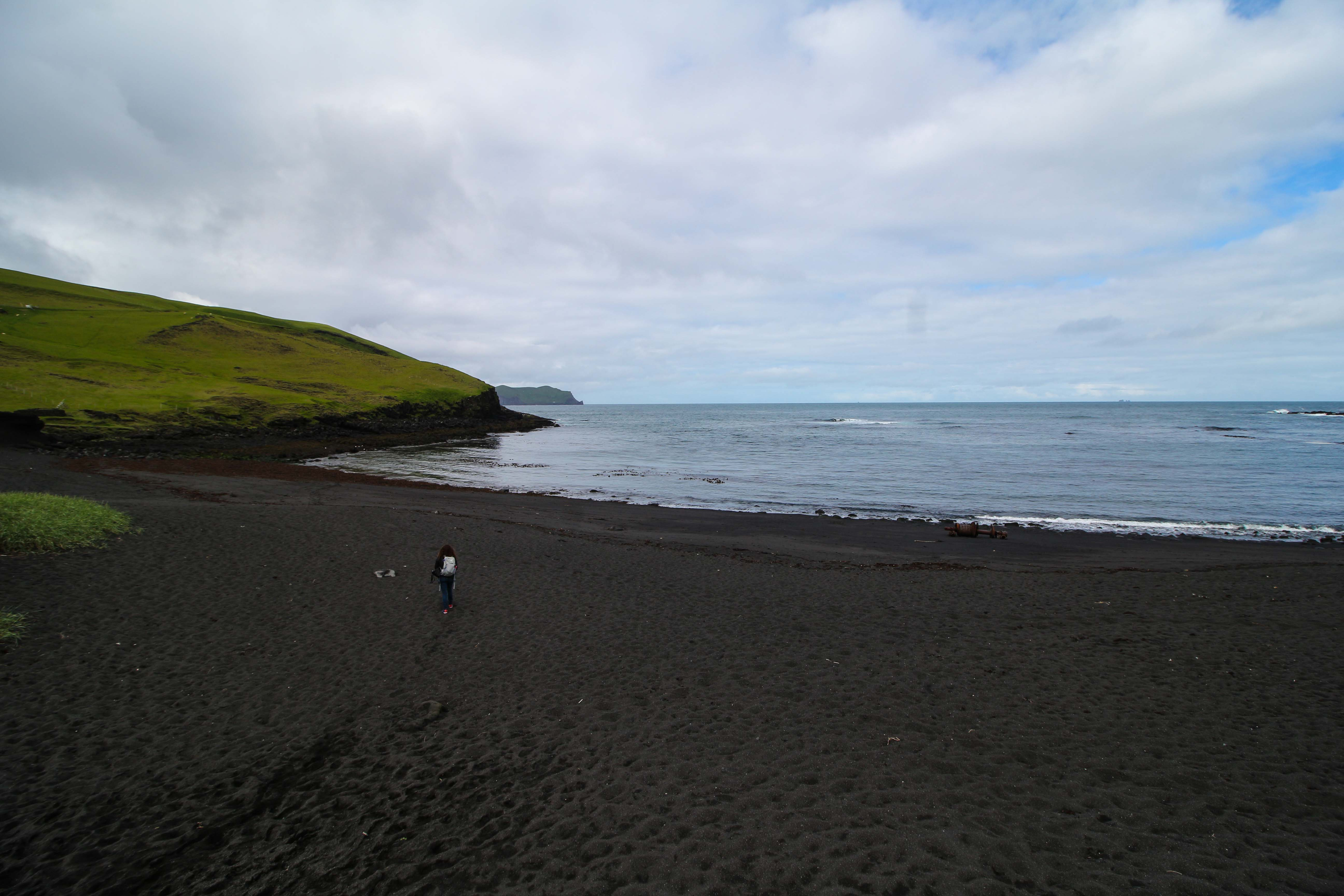 A black sand beach in Heimaey Westman Islands Iceland