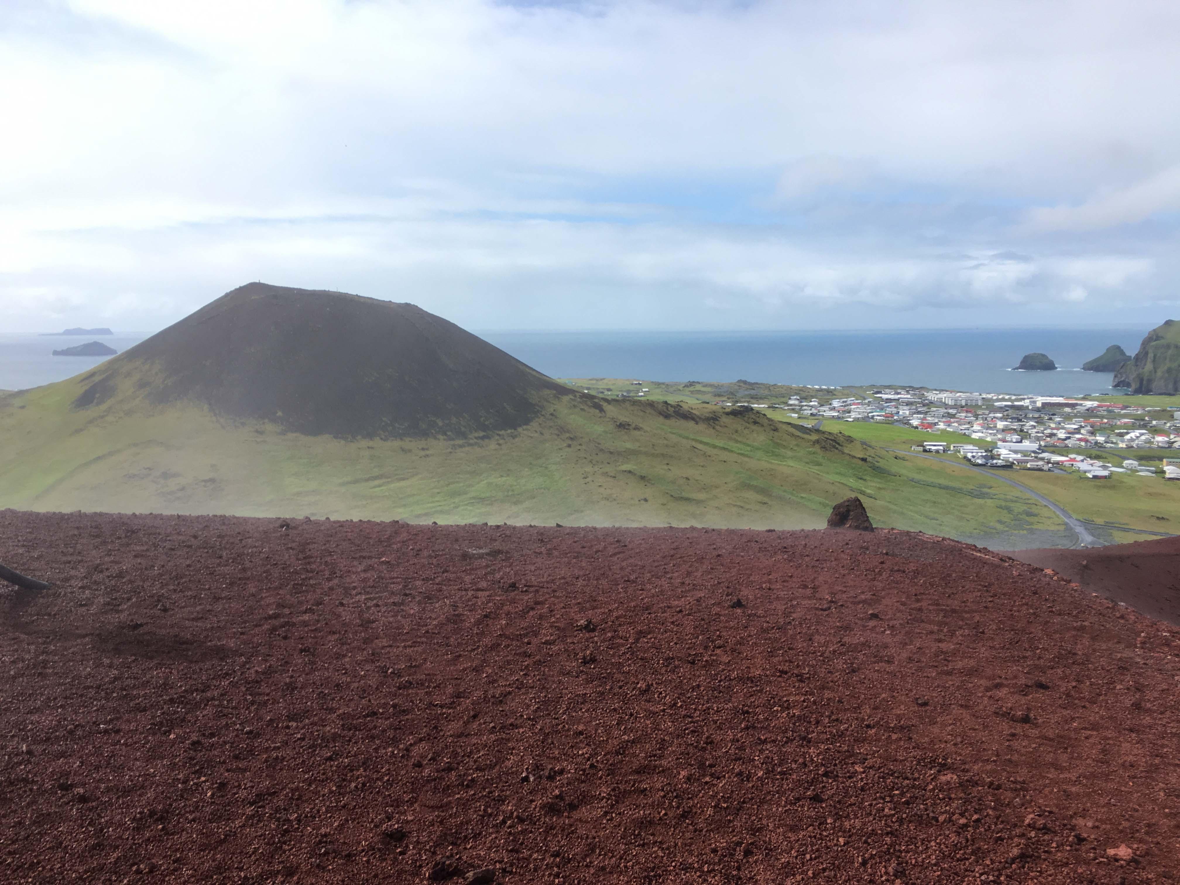 Steam rising off Eldfell volcano in Heimaey