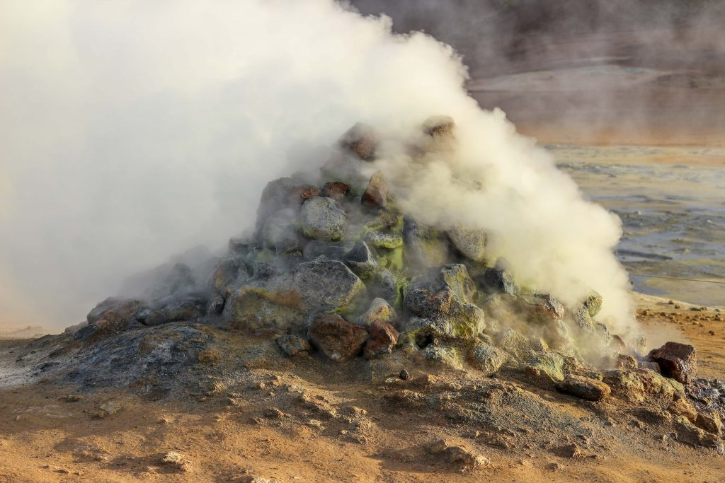 Steaming fumarole in Namafjall Hverir, Iceland