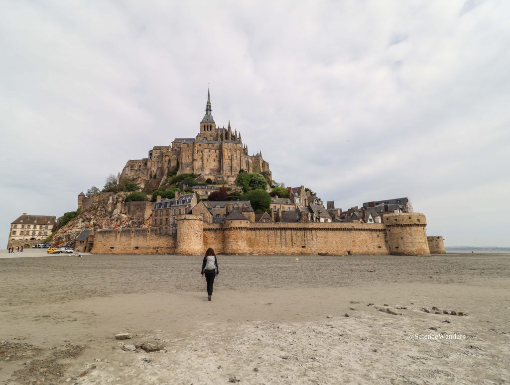 walking up to Mont St Michel